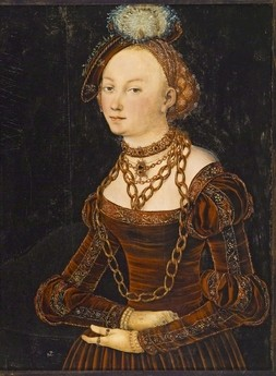 Portrait of a Woman, Lucas Cranach the Elder, about 1540, 76 x 56.5 cm, oil, tempera on panel, Collection of the Winnipeg Art Gallery