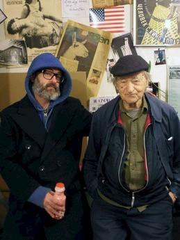 Jonas Mekas & Douglas Gordon, Anthology Film Archive NYC, 2014. Foto: Bernhard Schreiner