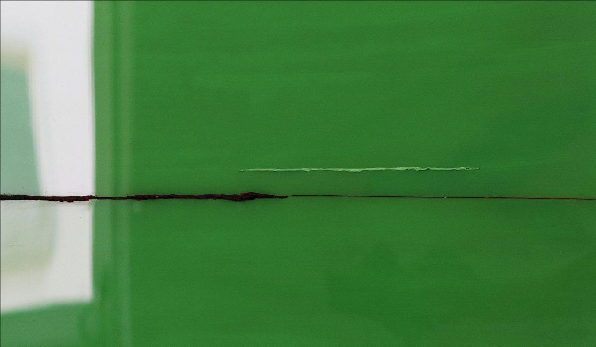 Herbert Warmuth, Gelb, Grün, Blau durch Grün, 2019, Acryl hinter und durch Plexiglas, 84 x 84 cm, Detail