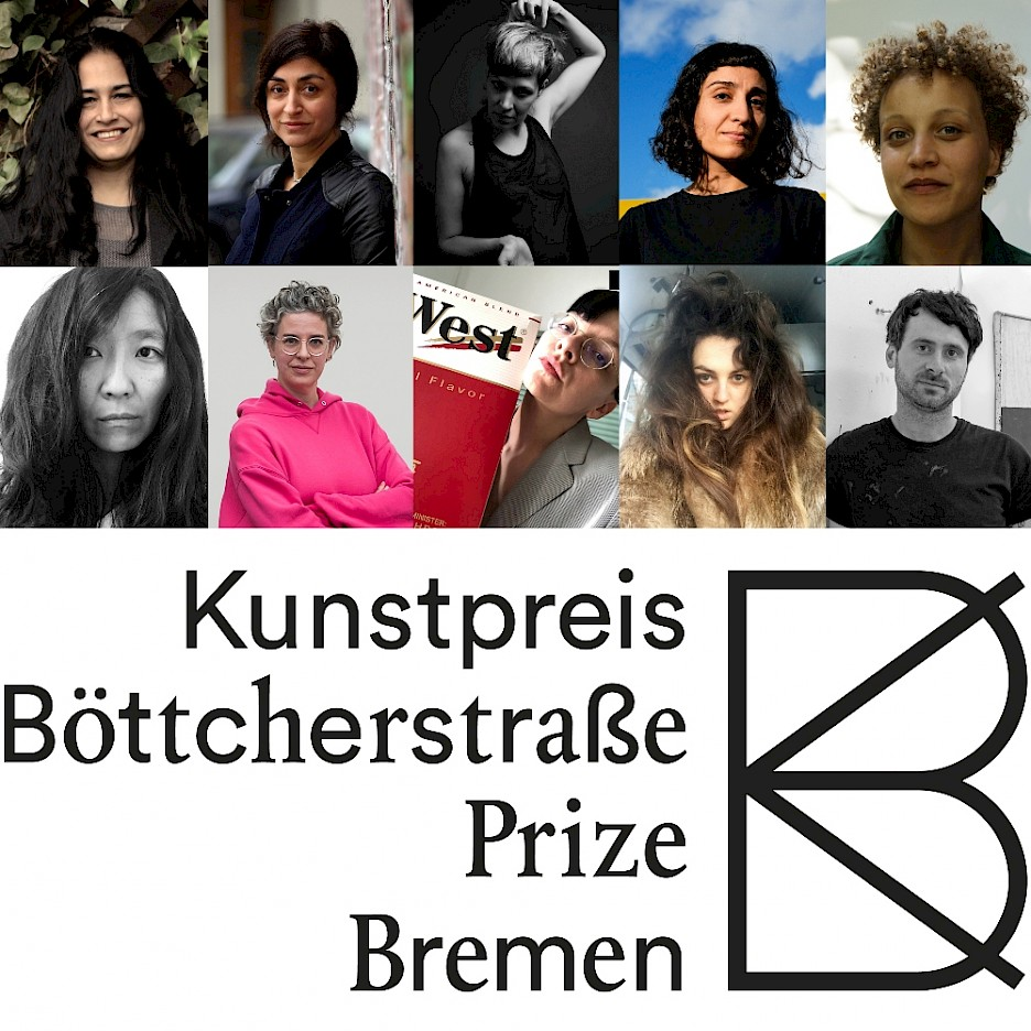 The nominees for the Kunstpreis der Böttcherstraße in Bremen 2020: Bani Abidi (photo: Schokofeh Kamiz), Nevin Aladağ, Jesse Darling (photo: Christa Holka), Toulu Hassani (photo: Volker Crone), Janine Jembere (© Sebastian Bodirsky), Anne Duk Hee Jordan, Ulrike Müller (© Katja Illner), Henrike Naumann (photo: Henrike Naumann), Raphaela Vogel (photo: Jane Eyre), Stefan Vogel
