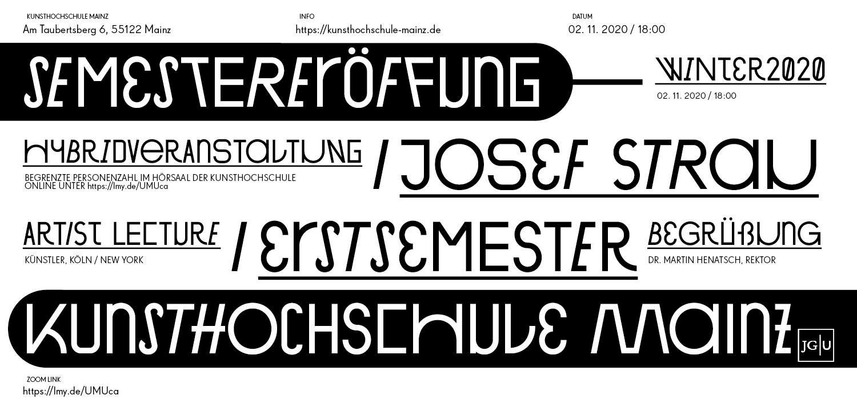 Vortragsreihe Wintersemester 20/21, Grafik © Kunsthochschule Mainz