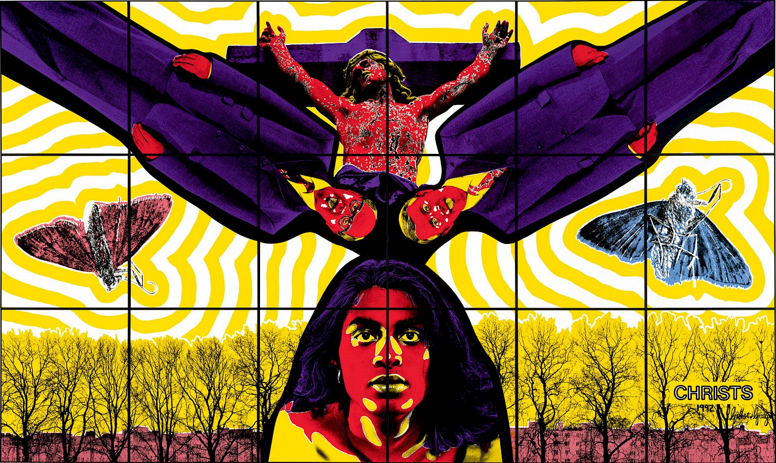 Gilbert & George, CHRISTS, 1992. 253 x 426 cm. Private collection. Courtesy of Gilbert & George.